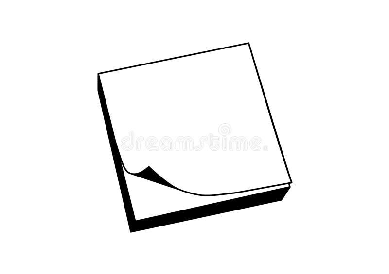 Ícone pegajoso da nota no preto ilustração do vetor