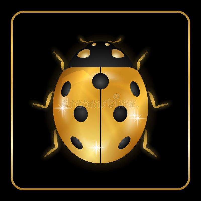 Ícone pequeno do inseto do ouro do joaninha ilustração stock