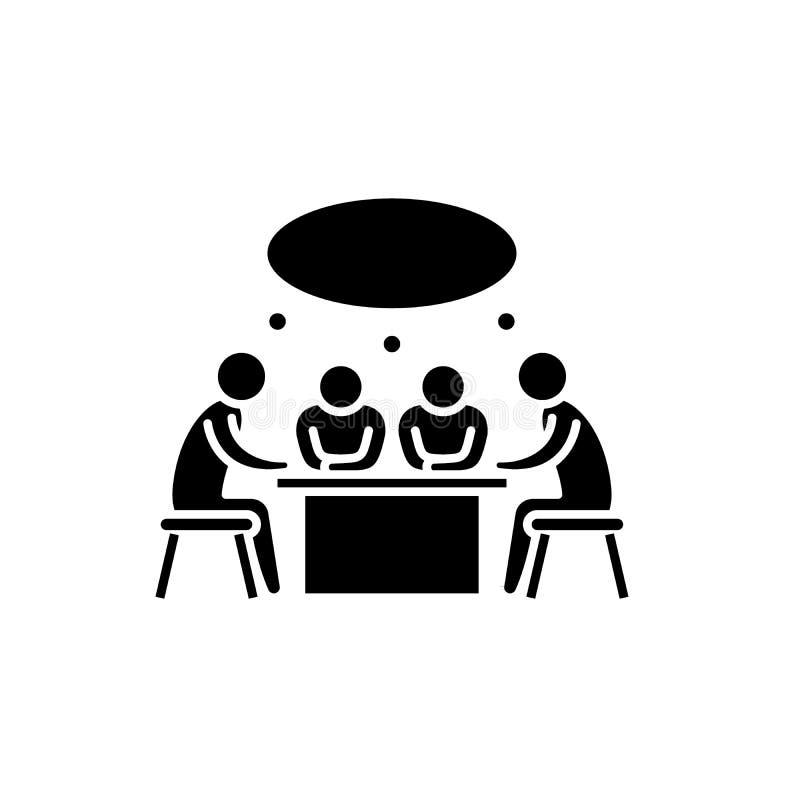 Ícone pequeno do preto da reunião de negócios, sinal do vetor no fundo isolado Símbolo pequeno do conceito da reunião de negócios ilustração stock