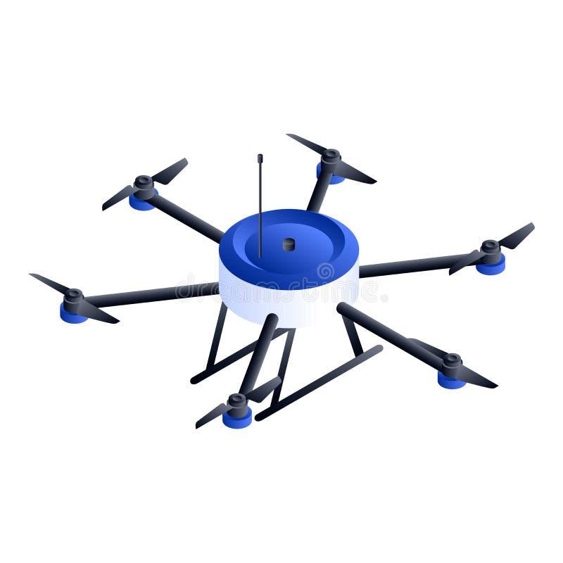 Ícone pequeno do zangão do hexacopter, estilo isométrico ilustração royalty free
