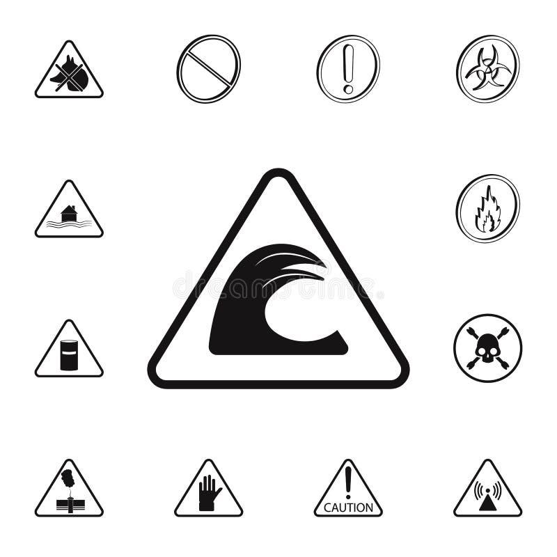 ícone perigosamente alto do sinal da onda Grupo detalhado de ícones dos sinais de aviso Sinal superior do projeto gráfico da qual ilustração royalty free