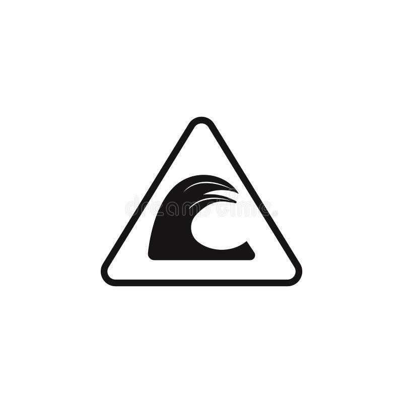 ícone perigosamente alto do sinal da onda O elemento do perigo assina o ícone Ícone superior do projeto gráfico da qualidade Sina ilustração do vetor