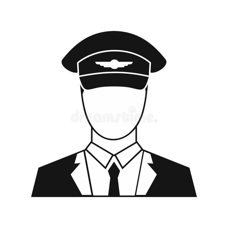 Ícone piloto no estilo simples ilustração stock