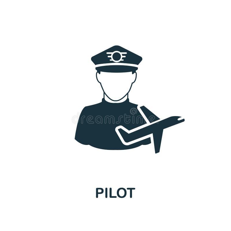 Ícone piloto Projeto monocromático do estilo da coleção do ícone das profissões Ui Ícone simples perfeito do piloto do pictograma ilustração stock