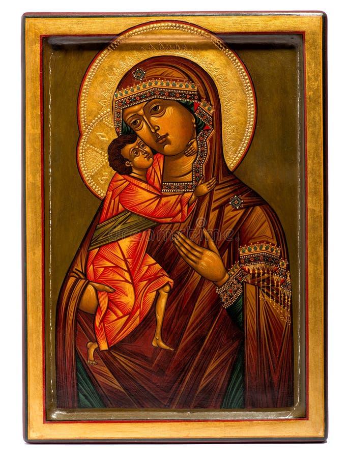 Ícone pintado de madeira da Virgem Maria e do Jesus imagens de stock