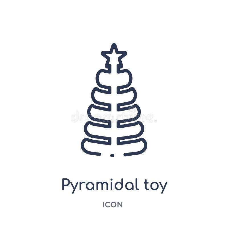 Ícone piramidal linear do brinquedo da coleção do esboço da criança e do bebê Linha fina ícone piramidal do brinquedo isolado no  ilustração royalty free