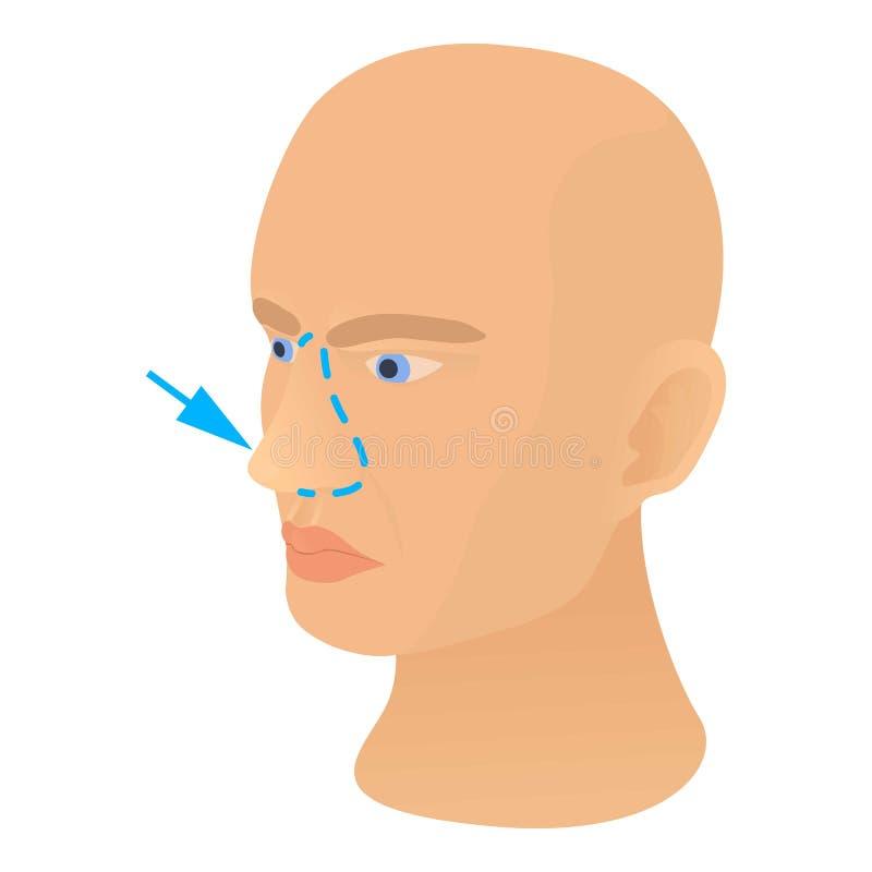 Ícone plástico da correção do nariz, estilo dos desenhos animados ilustração royalty free