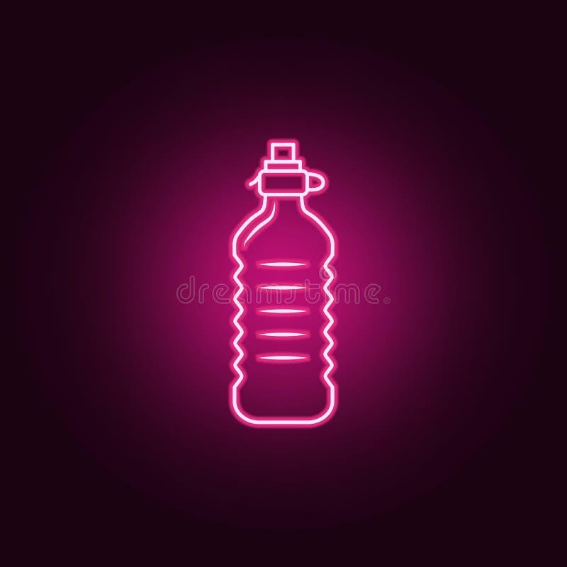 ícone plástico da garrafa de água Elementos da garrafa nos ícones de néon do estilo Ícone simples para Web site, design web, app  ilustração royalty free