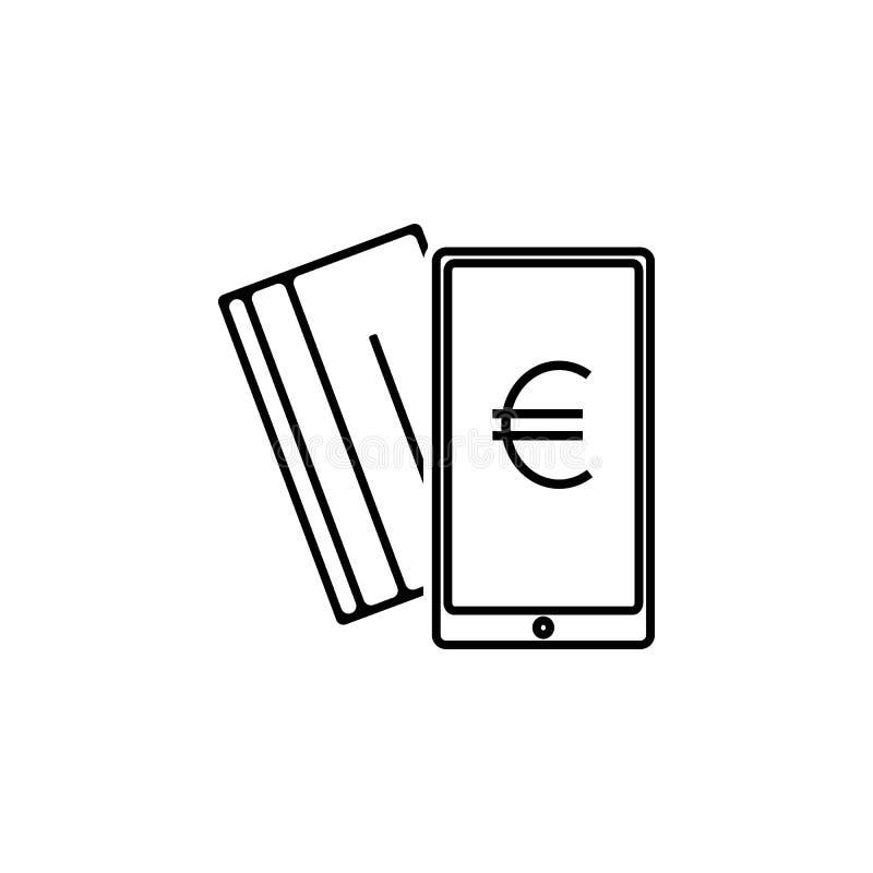 Ícone plástico do cartão do telefone euro- Elemento do ícone popular da finança Projeto gráfico da qualidade superior Sinais, íco imagens de stock royalty free