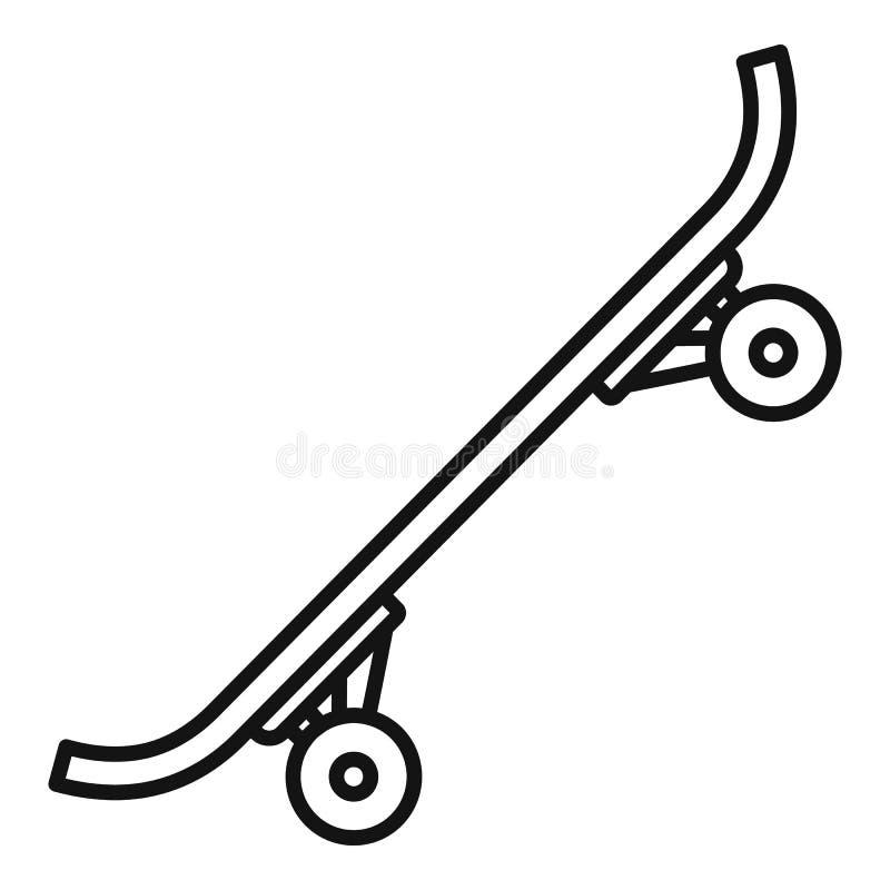 Ícone plástico do skate, estilo do esboço ilustração stock