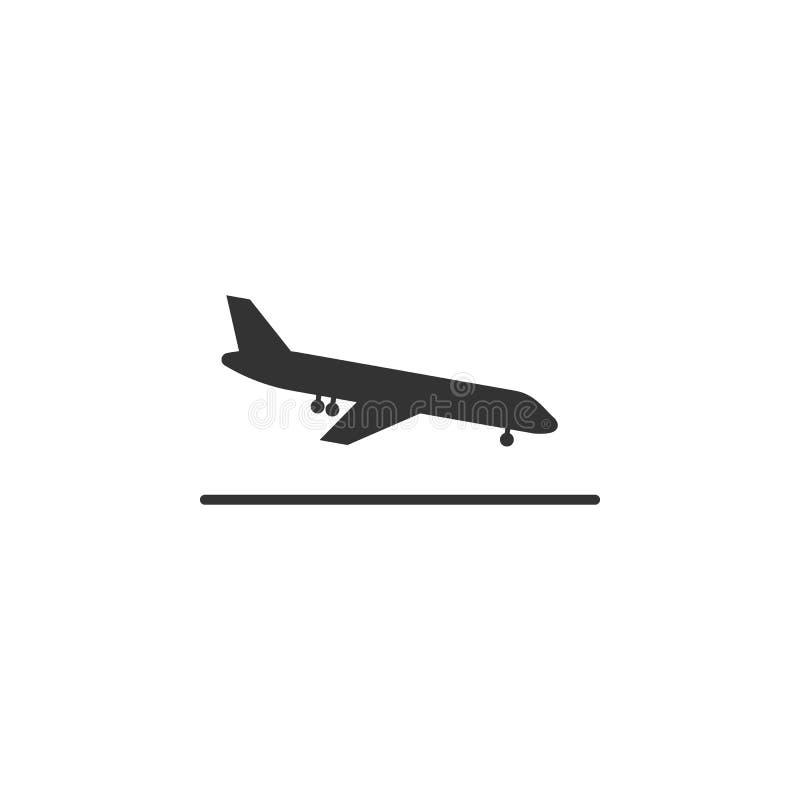 Ícone plano da aterrissagem Elemento do ícone do aeroporto para apps móveis do conceito e da Web O ícone de aterrissagem plano de ilustração royalty free