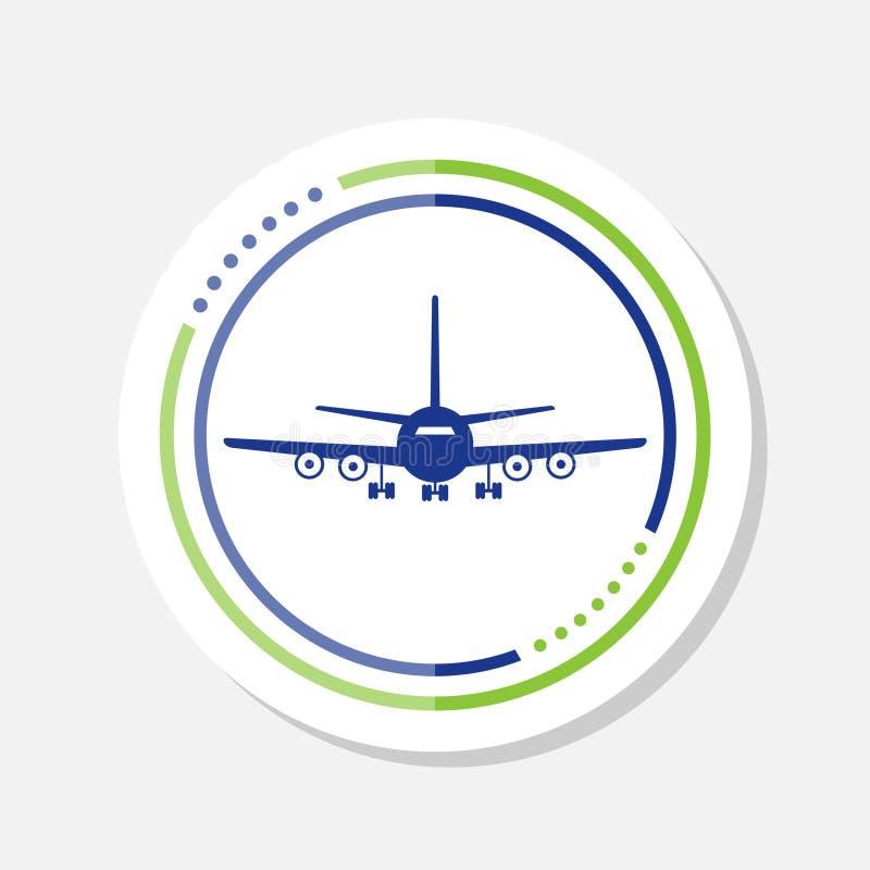 Ícone plano da etiqueta isolado no fundo branco ?cone do avi?o do voo ilustração royalty free