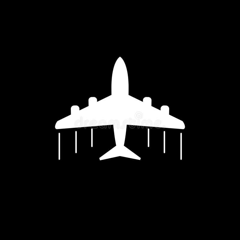 Ícone plano Ilustração lisa do vetor do avião no fundo cinzento ilustração do vetor