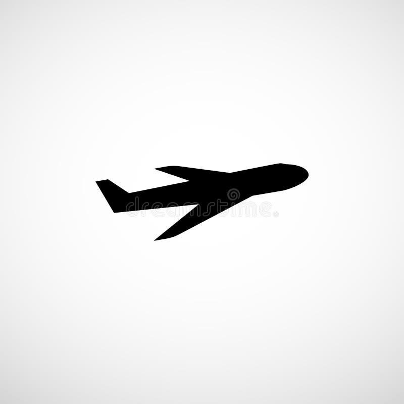 Ícone plano Silhueta do avião Sinal dos aviões Símbolo do avião de passageiros ilustração do vetor
