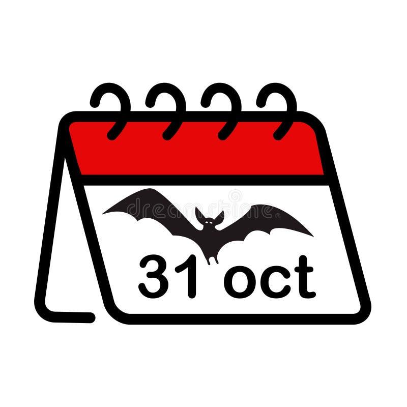 Ícone plano simples do calendário de Halloween, 31 de outubro, um organizador com morcego vampiro, isolado em fundo branco Vetor ilustração royalty free