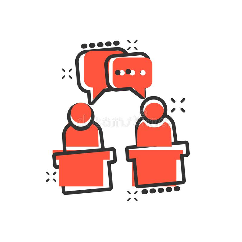 Ícone político do debate no estilo cômico Pictograma presidencial da ilustração dos desenhos animados do vetor dos debates Negóci ilustração stock