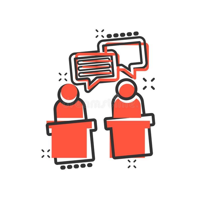 Ícone político do debate no estilo cômico Pictograma presidencial da ilustração dos desenhos animados do vetor dos debates Negóci ilustração do vetor
