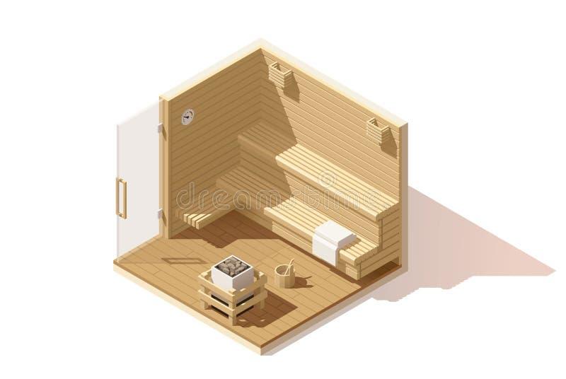 Ícone poli isométrico da sala da sauna do vetor baixo ilustração do vetor