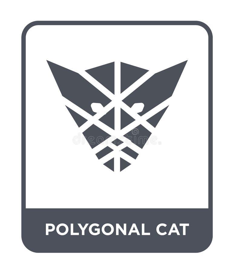 ícone poligonal do gato no estilo na moda do projeto ícone poligonal do gato isolado no fundo branco ícone poligonal do vetor do  ilustração stock