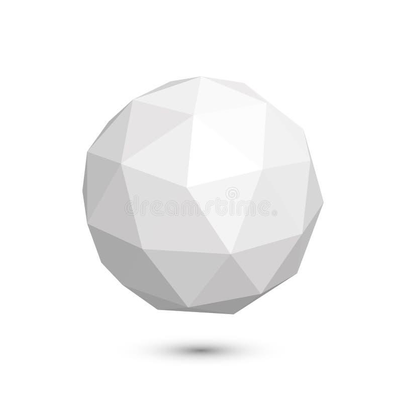 Ícone poligonal em um fundo branco, ilustração da esfera do vetor ilustração do vetor