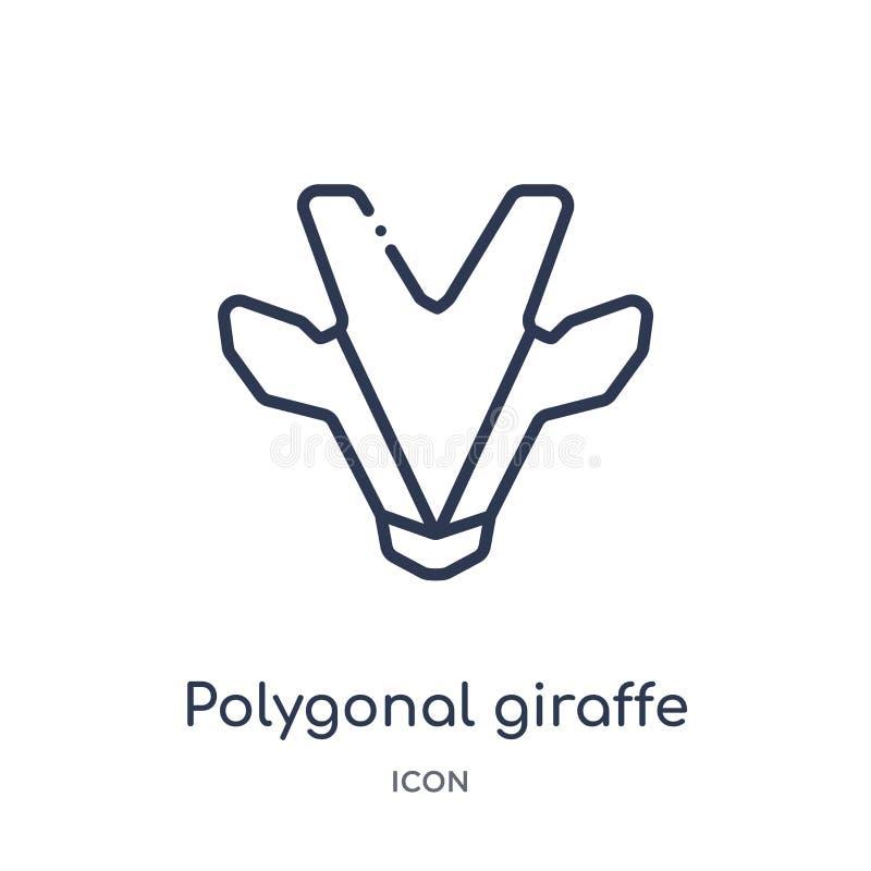 Ícone poligonal linear do girafa da coleção do esboço da geometria Linha fina ícone poligonal do girafa isolado no fundo branco ilustração royalty free