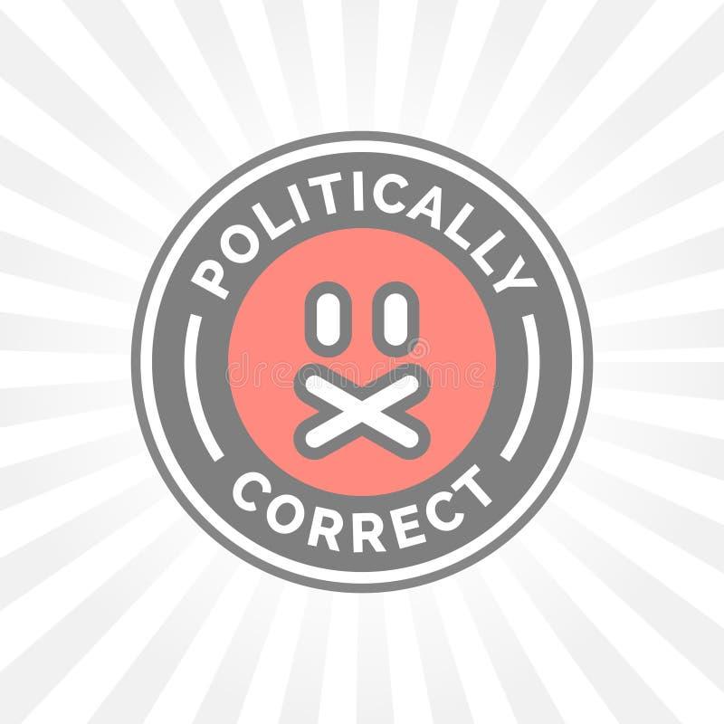 Ícone politicamente correto Liberdade de expressão do censor da exatidão política ilustração do vetor