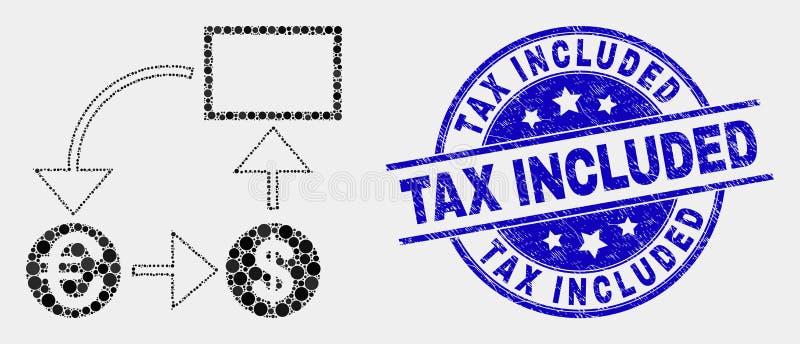 Ícone pontilhado vetor do esquema da conversão de moeda e selo incluído do imposto do Grunge ilustração do vetor