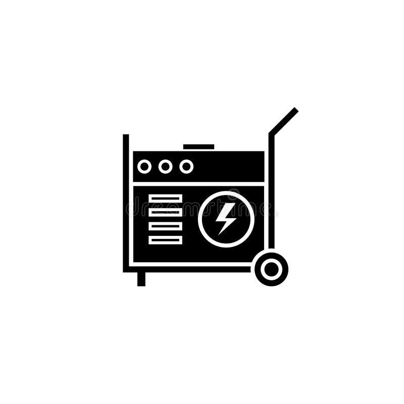 Ícone portátil da silhueta do gerador de poder ilustração stock