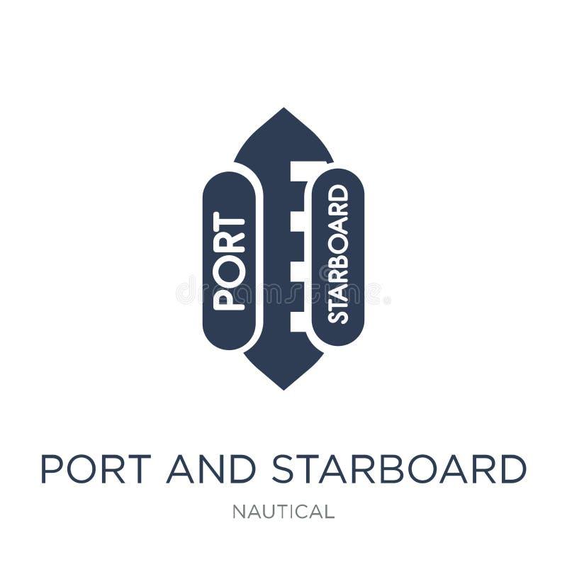 ícone portuário e estibordo Porto liso na moda do vetor e i estibordo ilustração royalty free