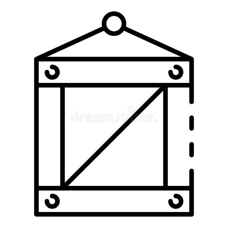 Ícone portuário marinho da caixa, estilo do esboço ilustração stock