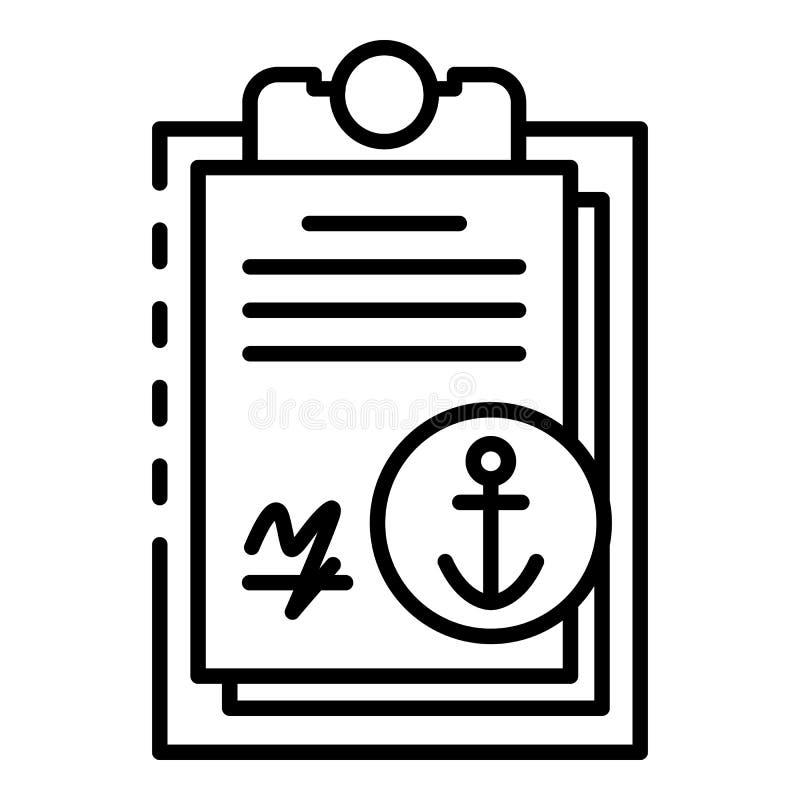 Ícone portuário marinho da prancheta, estilo do esboço ilustração do vetor