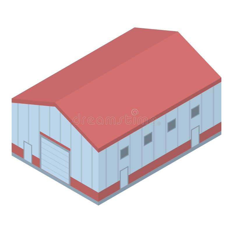 Ícone portuário marinho do armazém, estilo isométrico ilustração stock