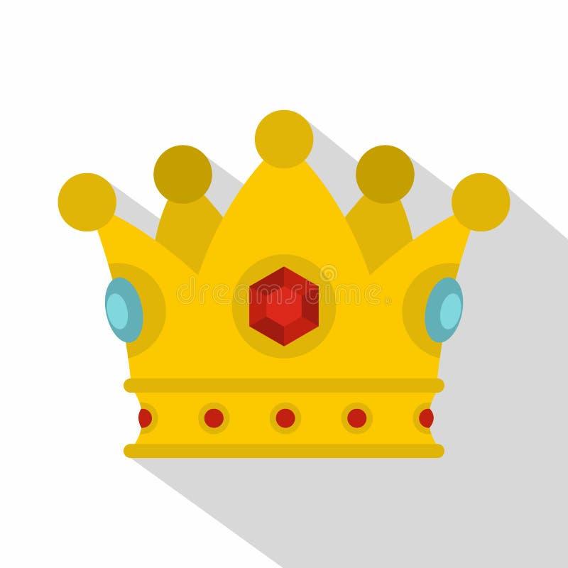 Ícone precioso da coroa, estilo liso ilustração royalty free