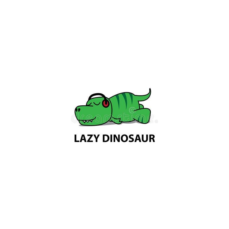 Ícone preguiçoso do dinossauro, t-rex engraçado que dorme com fones de ouvido ilustração stock