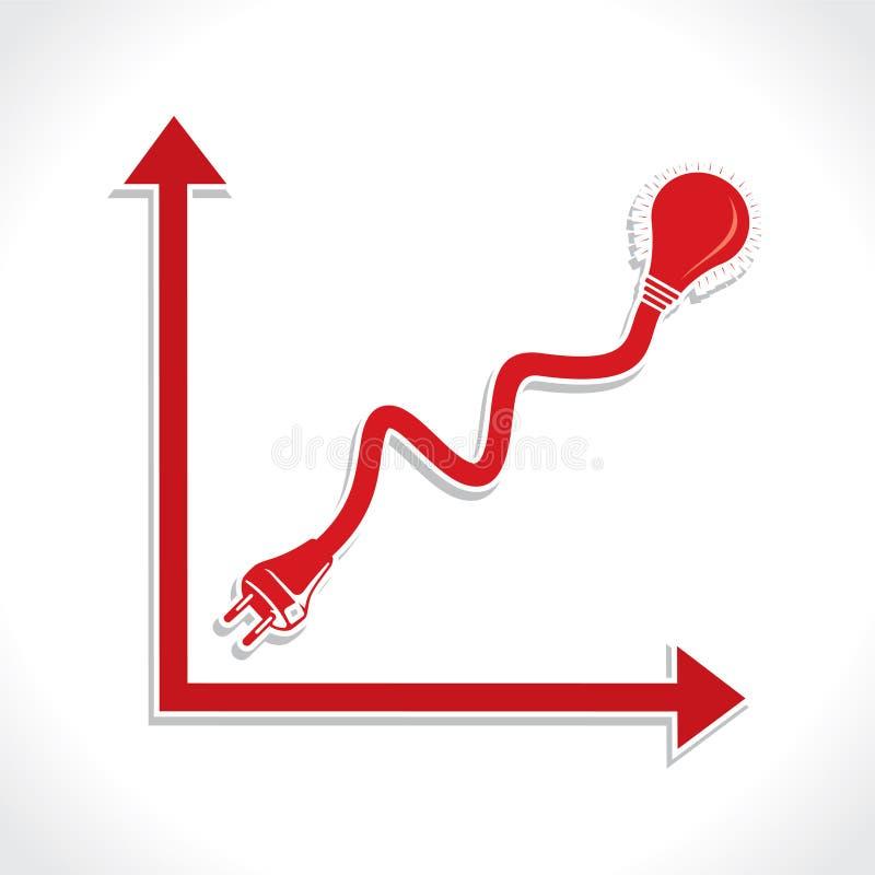 Ícone prendido do gráfico de negócio com bulbo e tomada ilustração royalty free