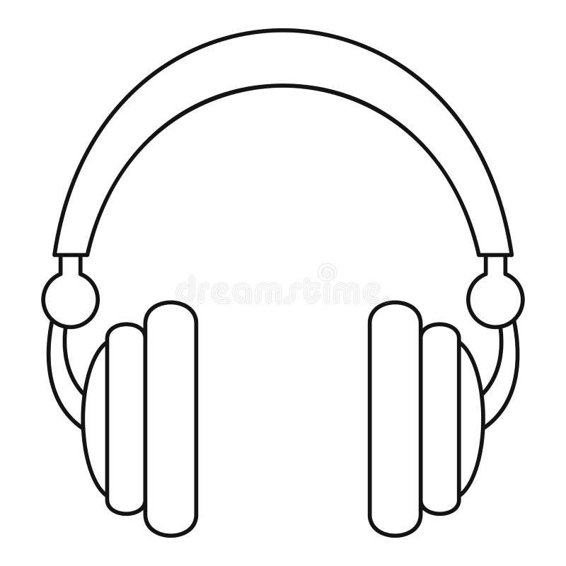Ícone prendido dos fones de ouvido, estilo do esboço ilustração do vetor