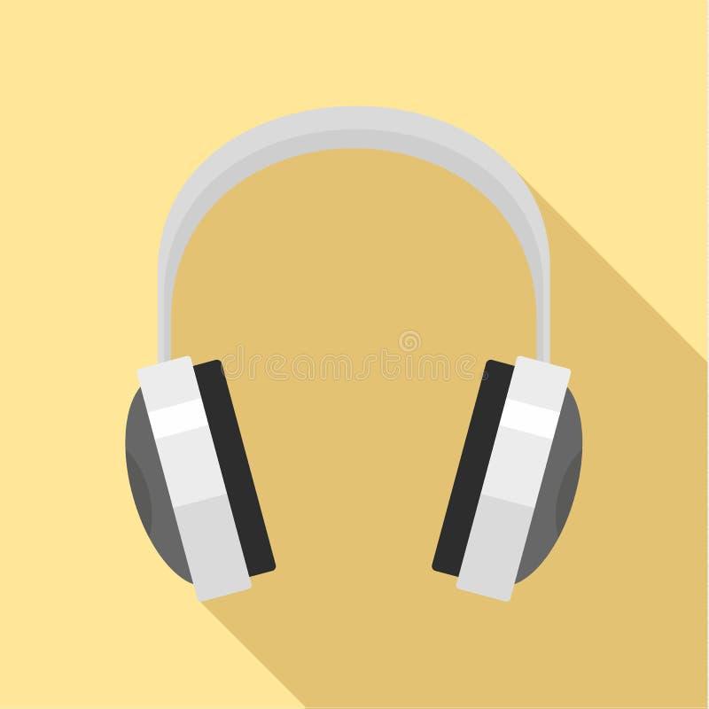 Ícone prendido dos fones de ouvido, estilo liso ilustração do vetor