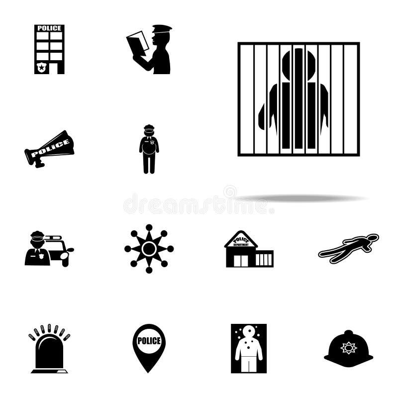 ícone prendido Grupo universal dos ícones da polícia para a Web e o móbil ilustração stock