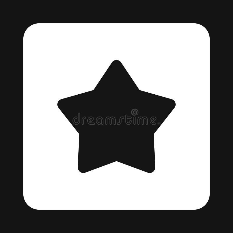 Ícone preto aguçado da estrela cinco, estilo simples ilustração royalty free