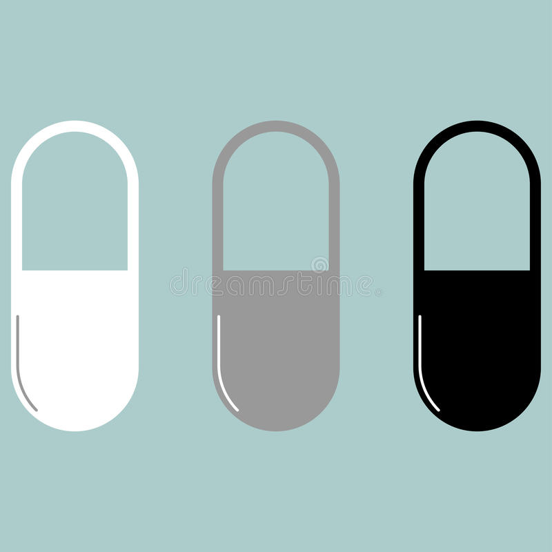 Ícone preto cinzento branco do comprimido ou da cápsula ilustração do vetor