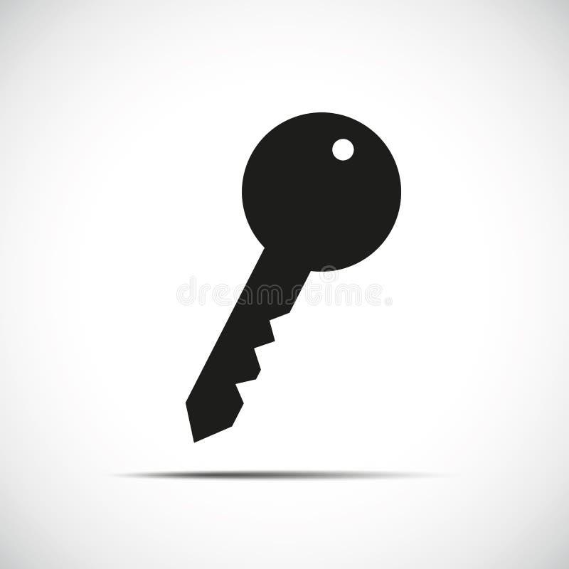 Ícone preto da chave simples ilustração stock
