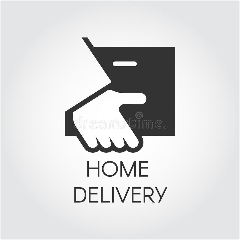 Ícone preto da mão que guarda o pacote no estilo liso Logotipo a domicílio da entrega, o rápido e o conveniente do serviço do con ilustração stock