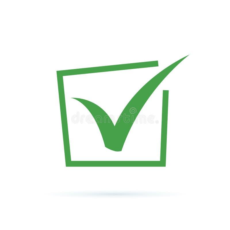 Ícone preto da marca de verificação Símbolo do tiquetaque, ilustração do vetor do ícone do tiquetaque Ícone APROVADO liso da etiq ilustração stock
