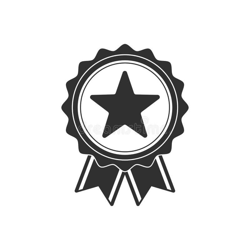 Ícone preto da medalha ilustração stock