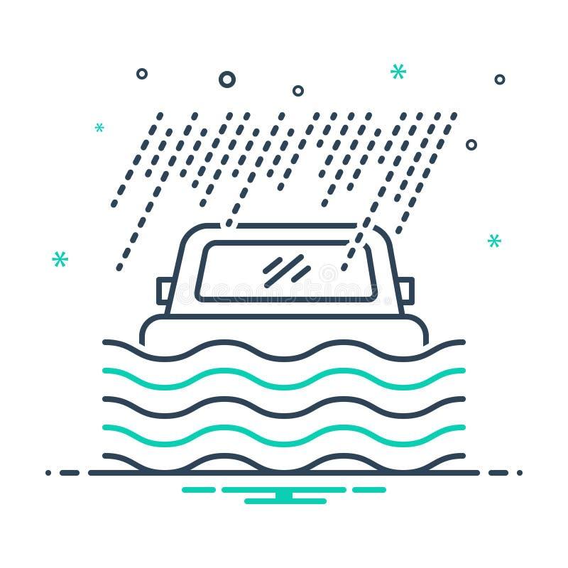 Ícone preto da mistura para a cobertura, o desastre e a segurança de inundação ilustração royalty free