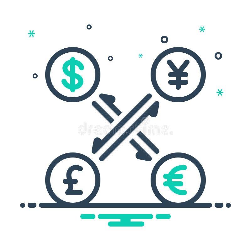 Ícone preto da mistura para a moeda, o converso e o dinheiro ilustração stock