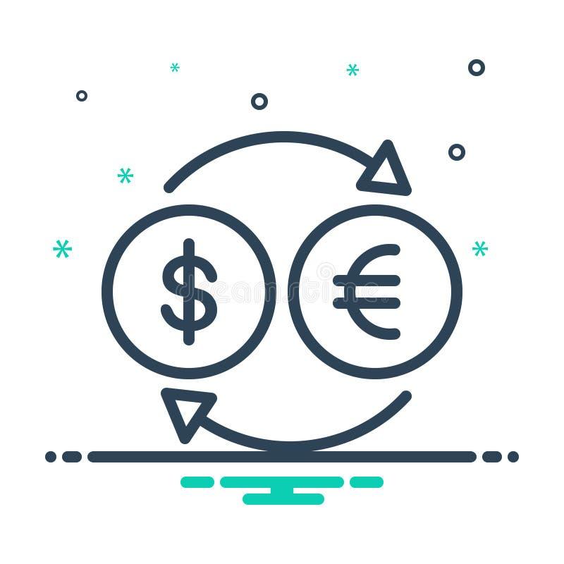 Ícone preto da mistura para a moeda, a troca e o dinheiro do converso ilustração stock