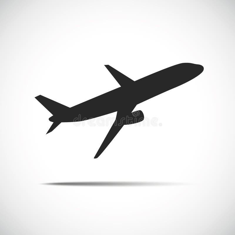 Ícone preto da silhueta dos aviões do passageiro ilustração do vetor