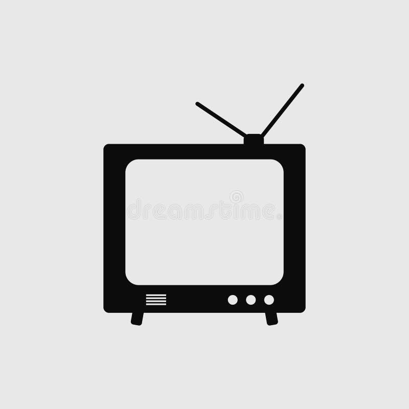 Ícone preto da televisão ilustração do vetor