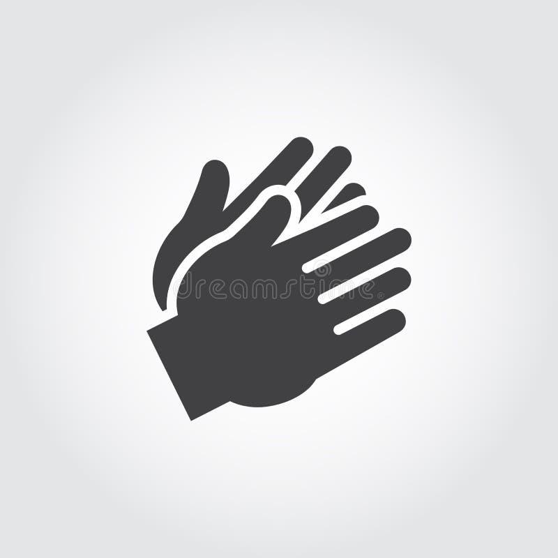 Ícone preto de aplauso de duas mãos do ser humano Sinal liso do aplauso, incentivo, aprovação Imagem gráfica do gráfico da Web ilustração royalty free